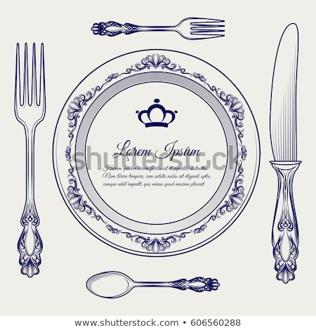 Stock photo: vector Royal dishes, tableware