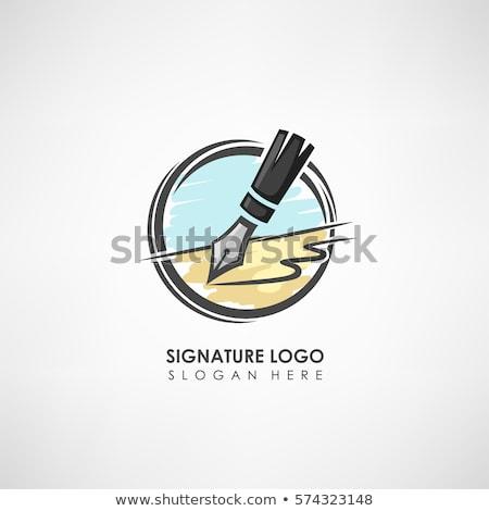 piuma · pen · silhouette · icona · scrittore · segno - foto d'archivio © haris99