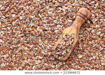 Broken flax seeds in wooden scoops on black background Stock photo © Melnyk