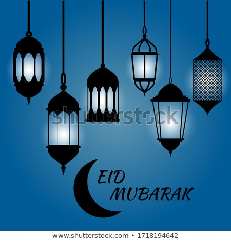beautiful eid festival lamps hanging banner design Stock photo © SArts