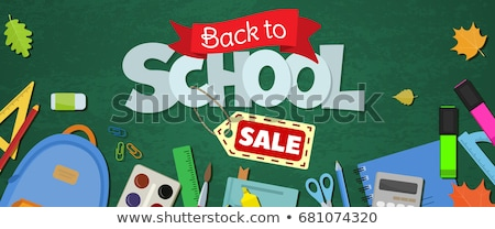 Stok fotoğraf: Back To School Sale Horizontal Banner First Day Of School Vector Illustration