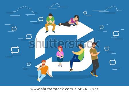 座って 人 ノートパソコン ガジェット ベクトル 作業 ストックフォト © robuart
