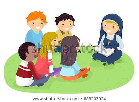 Adolescentes freira ao ar livre bíblia estudar ilustração Foto stock © lenm