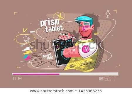 призма таблетка иллюстрация Cartoon улыбаясь человека Сток-фото © jossdiim
