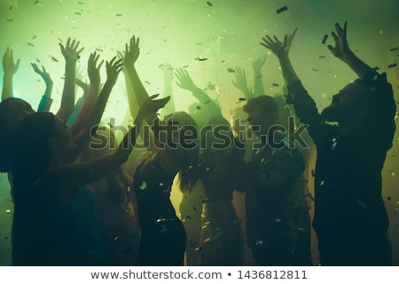 Dancing Woman Raising Hands Up, Clubber at Party Stock photo © robuart