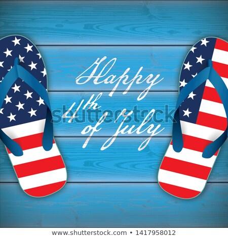 happy 4th july wood us flag flipflops planks stock photo © limbi007
