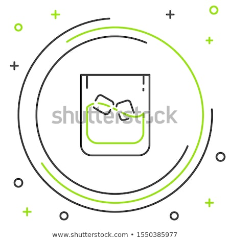 color design glass with bourbon and ice cubes vector stock photo © pikepicture