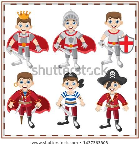 Dzieci średniowiecznej rycerz pirackich kostium Fotografia Zdjęcia stock © grafvision