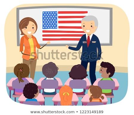 Gyerekek veterán katona osztály illusztráció hallgat Stock fotó © lenm