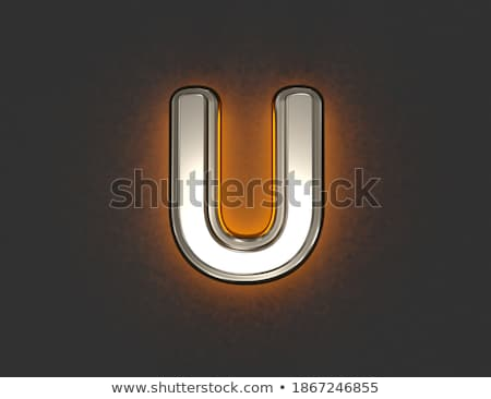 Yellow outlined font letter U 3D Stock photo © djmilic