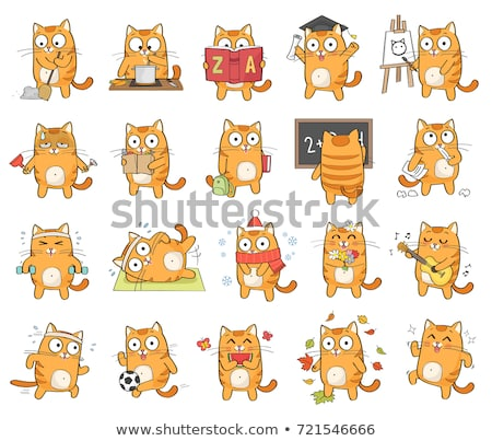 grasa · gato · Cartoon · ilustración · cute · gris - foto stock © izakowski