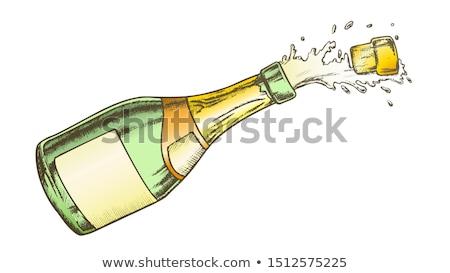 Champán etiqueta botella explosión tinta vector Foto stock © pikepicture