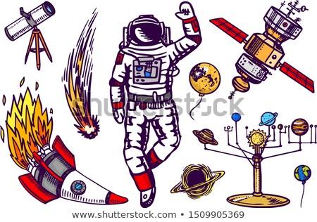 Vintage Space Telescope or Satellite Cartoon Retro Drawing Stock photo © patrimonio