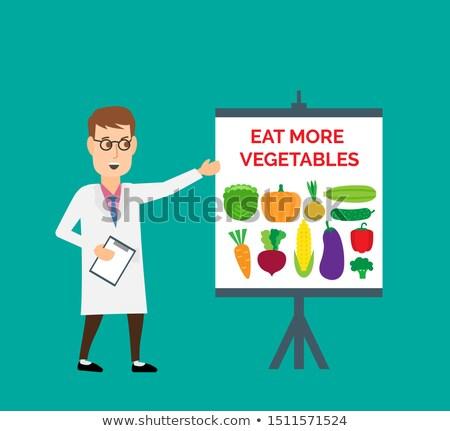 Uomo mangiare broccoli illustrazione uomo grasso mangiare Foto d'archivio © lenm