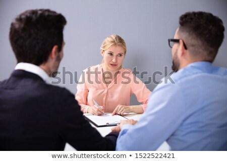 két · férfi · interjú · örökbefogadás · ügynökség · ül · beszél - stock fotó © andreypopov