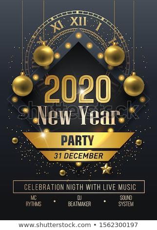 Glückliches neues Jahr glühen Text Design Grußkarte Wünsche Stock foto © Iaroslava