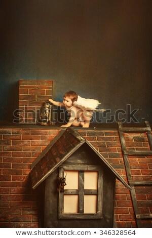 Portret cute mały anioł chłopca Zdjęcia stock © konradbak