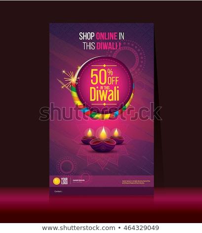 diwali festival sale banner with diya lamp decoration Stock photo © SArts
