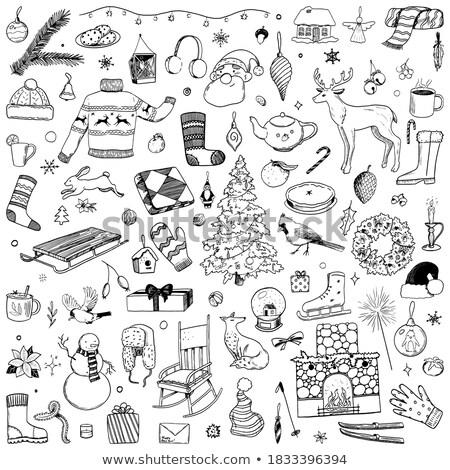 mano · dibujo · invierno · vacaciones · establecer · moda - foto stock © balasoiu
