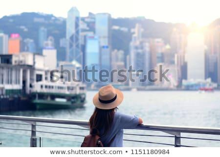fiatal · nő · komp · Hongkong · égbolt · lány · boldog - stock fotó © galitskaya