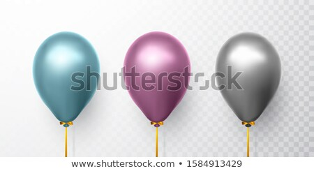 Realistic blue, purple and gray balloons on transparent background with shadow. Shine helium balloon Stock photo © olehsvetiukha