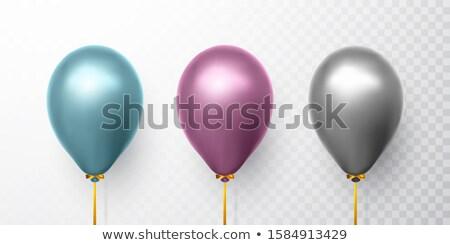 realista · azul · roxo · cinza · balões · transparente - foto stock © olehsvetiukha