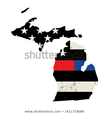 State of Michigan Police and Firefighter Support Flag Illustrati Stock photo © enterlinedesign