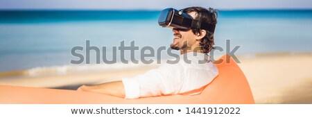Bandeira longo formato verão estilo de vida retrato Foto stock © galitskaya
