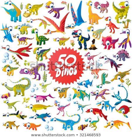 Dinosaur prehistoric animal cartoon icon set Stock photo © anbuch