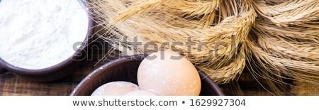 Banner fresche uova rosolare ciotola grano Foto d'archivio © Illia