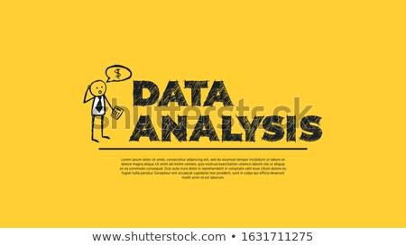 Gegevens analyse eenvoudige ontwerp cartoon zakenman Stockfoto © tashatuvango