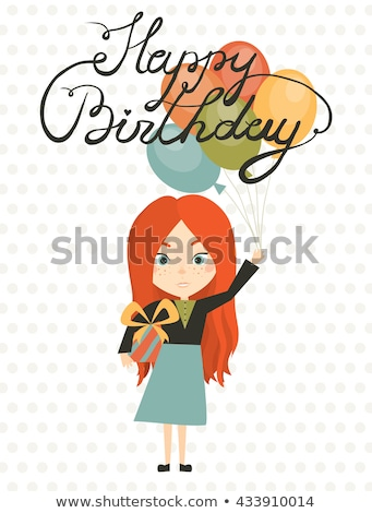 lovely red haired girl with birthday gift at party Stock photo © dolgachov