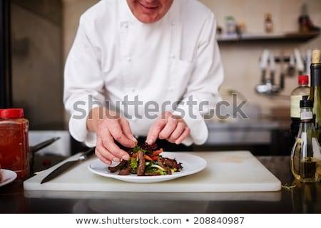 Küchenchef Würze Vorspeise weiblichen fertig schwarz Stock foto © Kzenon