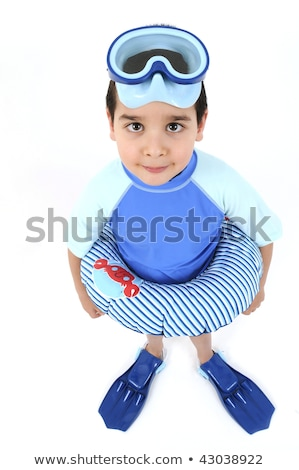 Boy with snorkel and fin on white background Stock photo © bluering