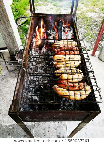 Bavarian sausages roasted on a grill on an open fire Stock photo © ElenaBatkova