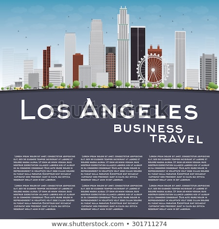 Los Angeles Skyline with Grey Buildings, Blue Sky and copy space Stock photo © ShustrikS