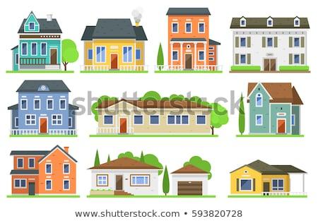 Gyűjtemény különböző házak izolált fehér ház Stock fotó © DeCe