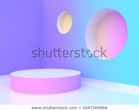 Roxo branco pódio círculo formas 3D Foto stock © djmilic