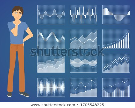 Graph Report, Man Counting, Profit Icon Vector Stock photo © robuart