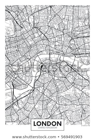 Plakat Karte Regionen Vereinigtes Königreich schwarz weiß drucken Stock foto © FoxysGraphic