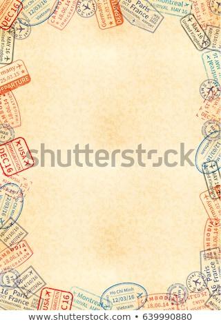 Taille jaune fiche vieux papier cadre différent Photo stock © evgeny89