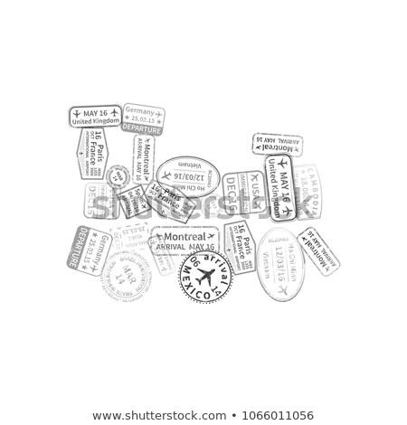 Zwarte immigratie postzegels trein vorm geïsoleerd Stockfoto © evgeny89
