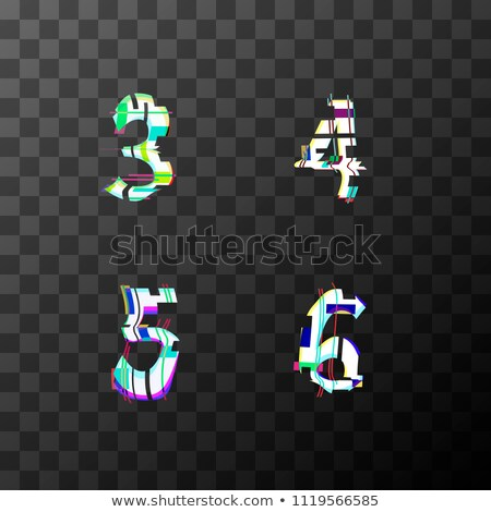 Glitch distortion font. Latin 3, 4, 5, 6 letters on transparent Stock photo © evgeny89