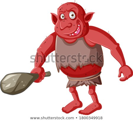 Red goblin or troll holding hunting tool in cartoon character is Stock photo © bluering