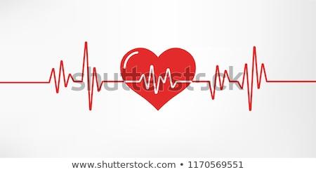 Piros szív szívdobbanás vonal orvosi egészség Stock fotó © SArts