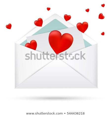 Branco abrir envelope vermelho coração Foto stock © Hermione