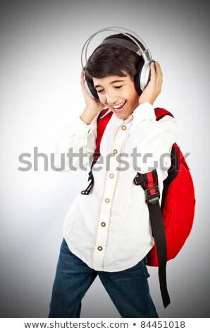 pretty teen boy enjoying music stock photo © anna_om