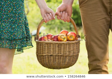 Zdjęcia stock: Couple With A Basket Of Apples