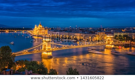 Сток-фото: Budapest At Night Danube Bridge Hungary