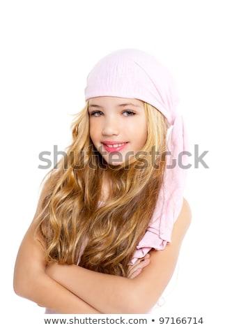 Kid ragazza pirata fazzoletto bella ritratto Foto d'archivio © lunamarina